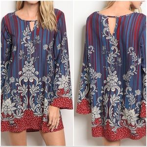 Floral Stripe Gypsy Boho Coachella Tunic Dress